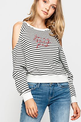Striped Cold Shoulder Sweatshirt