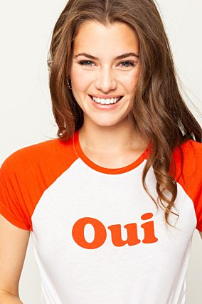 White & Orange Raglan T-Shirt