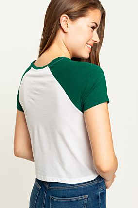 White & Green Raglan  T-Shirt