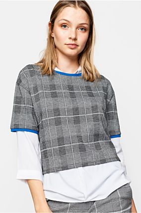 Grey Checked T-Shirt