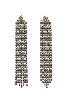 Silver Drop Earrings with Diamante