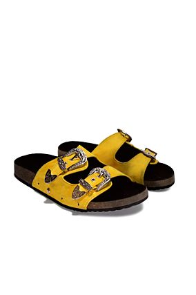 Yellow Sliders with Buckle Details