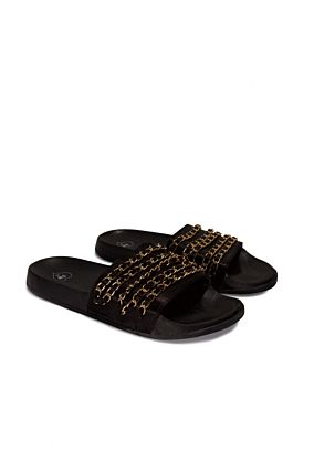 Black Chain Slip On Sandals