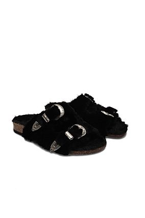 Black Slides with Buckle Detail