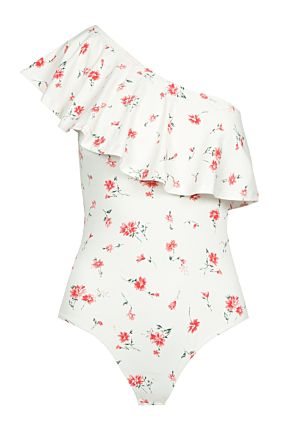 White Floral One Shoulder Bodysuit