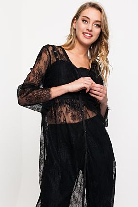 Black Long Lace Cardigan