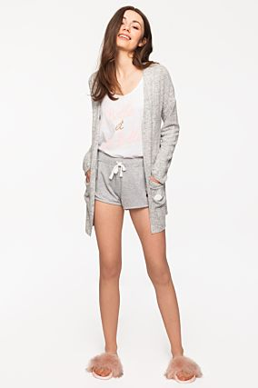 Grey Cardigan with Slogan
