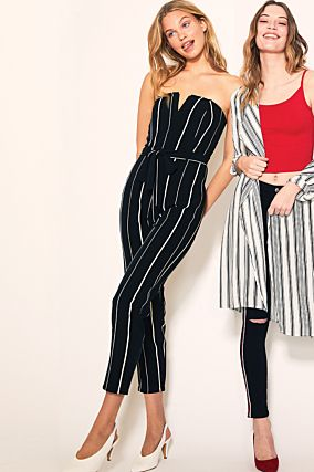 Black Stripped Dressy Jumpsuit