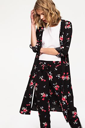 Black Long Floral Coat