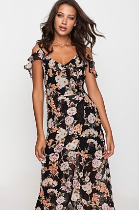 Black Flower Print Maxi Dress