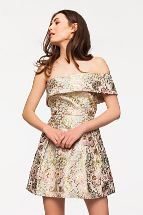Mini Dress in Floral Jacquard