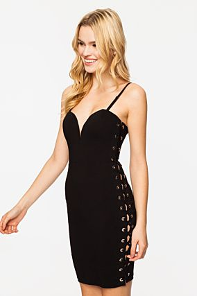 Black Bodycon Eyelet Dress