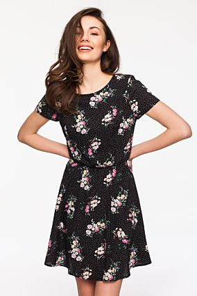 Black Floral and Polka Dot Dress