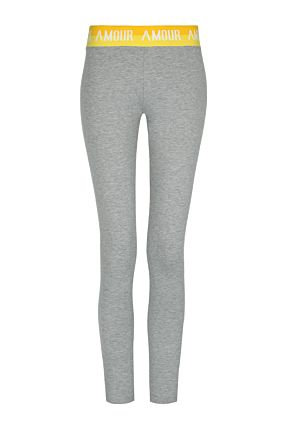 Graue Leggings mit Slogan