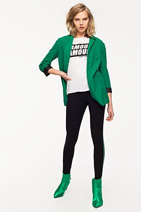Black Leggings with Green Side Stripe