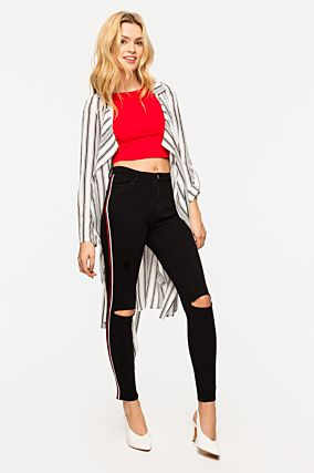 High Waist Trousers with Side Stripes