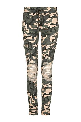 Camouflage Ripped Trousers