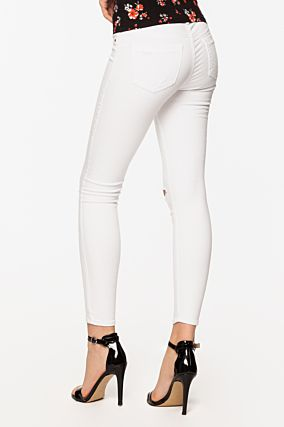White Knee Ripped Skinny Trousers