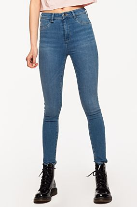 Blaue High-Waist Push-Up Jeans