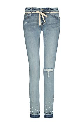 Destroyed Jeans mit Perlen