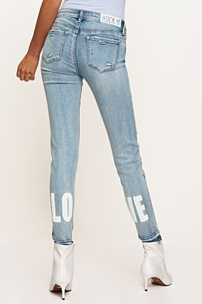 Washed Blue Printed Jeans