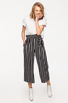 Black and White Culotte Trousers