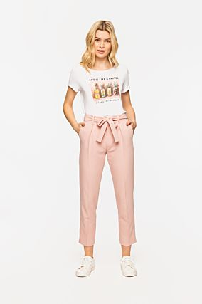 Pantalon Rose à Noeud
