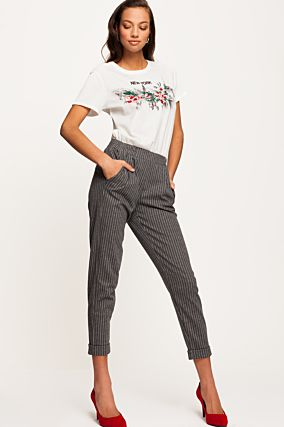 Striped Cigarette Trousers