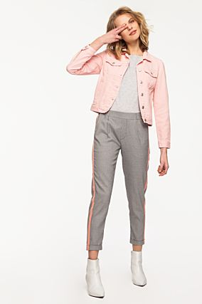 Tailored Trousers with Pink Bands