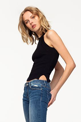 Black Knit Sleeveless Top
