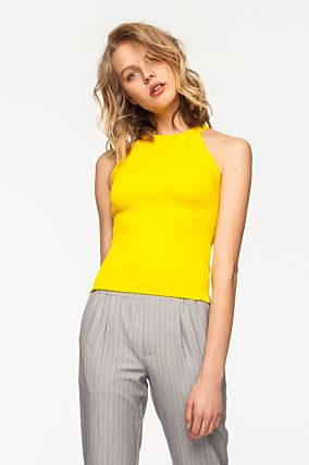 Yellow Ribbed Sleeveless Top