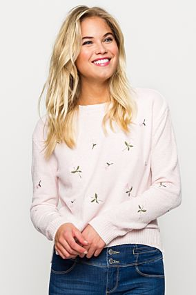 Pink Embroidered Jumper