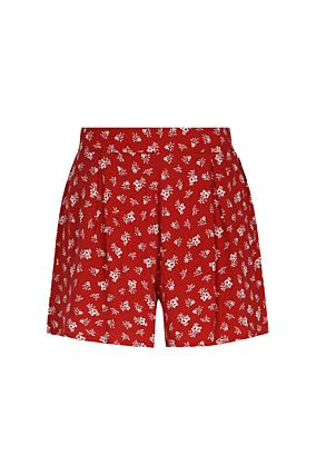 Short Rouge Fleuri