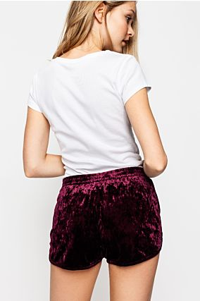 Short Bordeaux en Velours