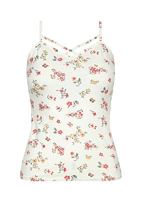 Sleeveless White Top with Floral Prints