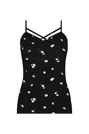 Black Vest Top with Daisy Print