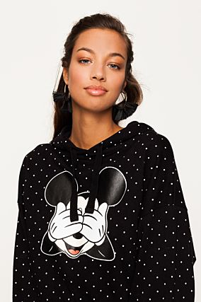 Black Polka Dots Mickey Mouse Sweatshirt