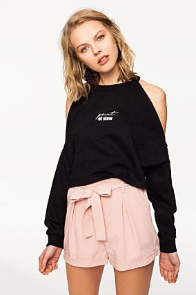 Black Cold Shoulders Sweatshirt