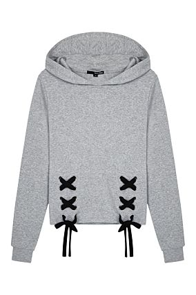 Grey Sweatshirt with Tie Details