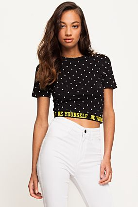 Black Polka Dots Crop Top