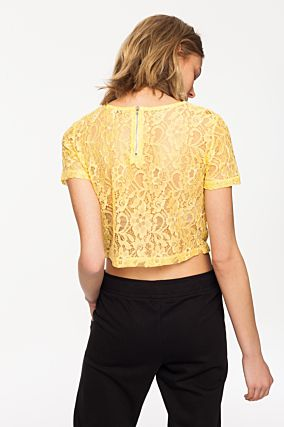 Yellow Transparent Lace Top