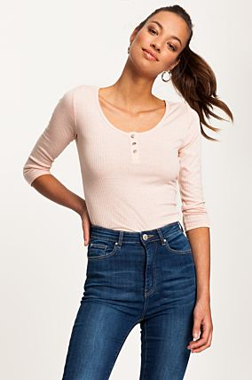 Pink Ribbed Butonned Top