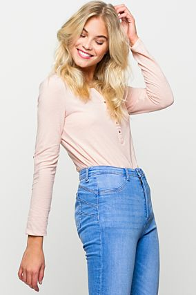 Pink Top with Rolled Up Sleeves