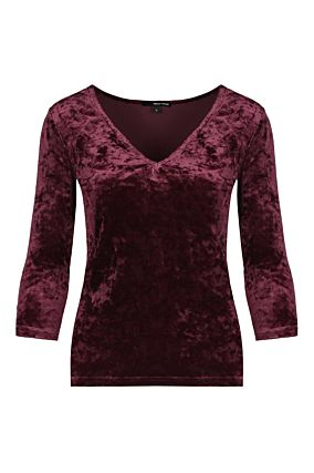 T-shirt Manches 3/4 en Velours Bordeaux