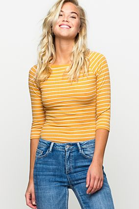 Yellow Striped Fitted Top