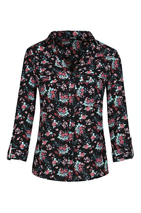 Black Floral Fitted Shirt