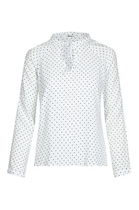 White Polka Dot Shirt with Knot