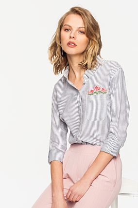 Blue Striped Shirt with Embroidery
