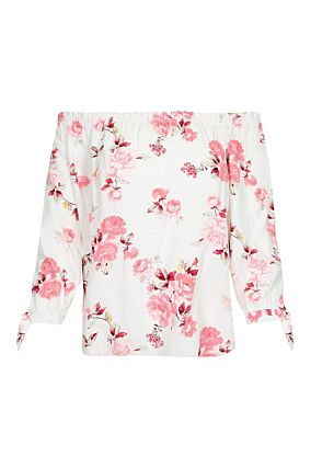 White Floral Off Shoulders Blouse