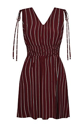 Burgundy Striped Dress